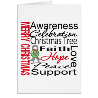 Merry Christmas Brain Cancer Ribbon Collage Greeting Card