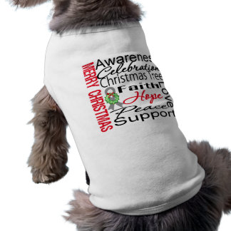 Merry Christmas Brain Cancer Ribbon Collage Doggie T-shirt
