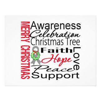Merry Christmas Brain Cancer Ribbon Collage Custom Flyer