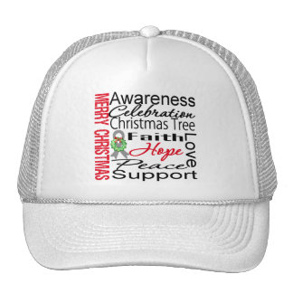 Merry Christmas Brain Cancer Ribbon Collage Trucker Hat