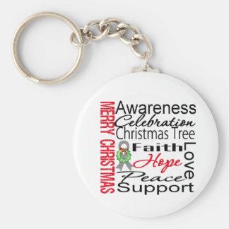 Merry Christmas Brain Cancer Ribbon Collage Key Chain