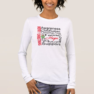 Merry Christmas Brain Cancer Ribbon Collage Long Sleeve T-Shirt