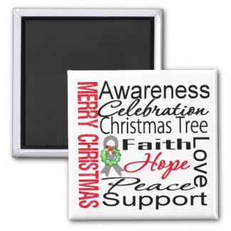 Merry Christmas Brain Cancer Ribbon Collage Fridge Magnet