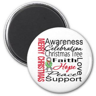 Merry Christmas Brain Cancer Ribbon Collage Fridge Magnets
