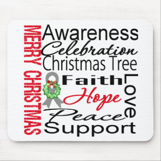 Merry Christmas Brain Cancer Ribbon Collage Mouse Pad