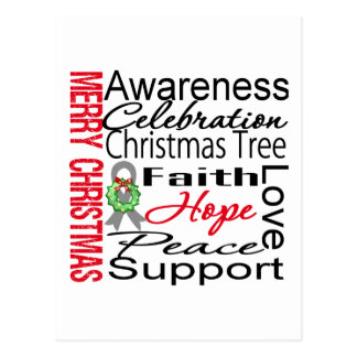 Merry Christmas Brain Cancer Ribbon Collage Postcard