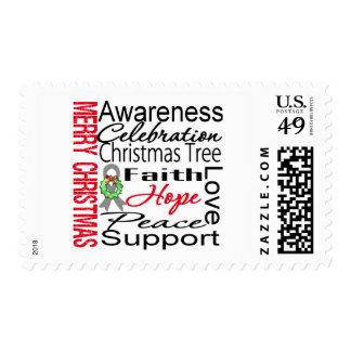 Merry Christmas Brain Cancer Ribbon Collage Stamp