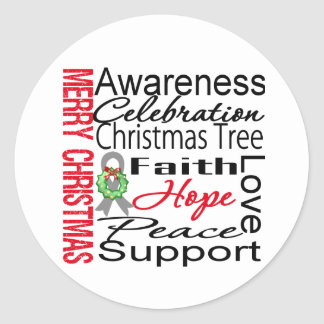 Merry Christmas Brain Cancer Ribbon Collage Classic Round Sticker