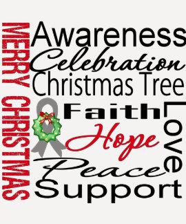 Merry Christmas Brain Cancer Ribbon Collage Tshirts