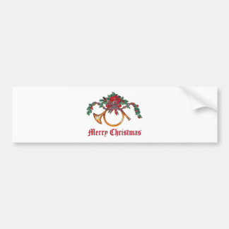 Merry Christmas - Brass Horn and Holly and Ribbon Bumper Sticker