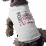 Merry Christmas Breast Cancer Pink Ribbon Wreath Pet Clothes