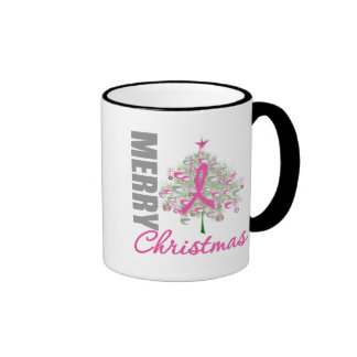 Merry Christmas Breast Cancer Pink Ribbon Wreath Mugs