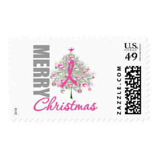 Merry Christmas Breast Cancer Pink Ribbon Wreath Postage Stamp