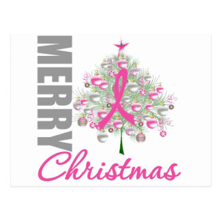 Merry Christmas Breast Cancer Pink Ribbon Wreath Postcard