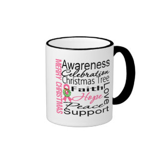 Merry Christmas Breast Cancer Ribbon Collage Coffee Mugs