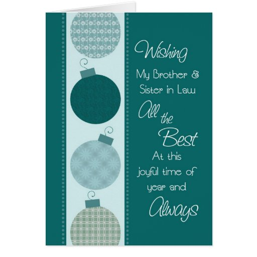 Merry Christmas Brother and Sister in Law Card | Zazzle