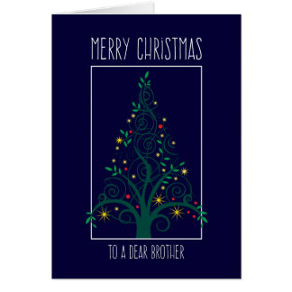 Merry Christmas Brother, Colorful Tree Swirls Card