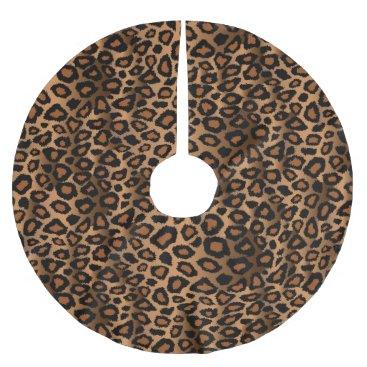Christmas Themed Merry Christmas Brown Leopard Animal Print Brushed Polyester Tree Skirt