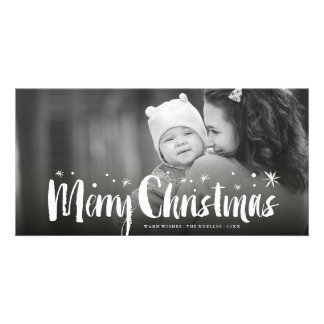 Merry Christmas Brushed Stars Holiday Photo Card