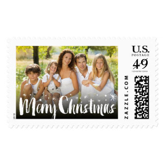 Merry Christmas Brushed Stars Holiday Photo Stamps
