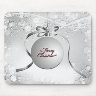 Merry Christmas Bulb Ornament with Stars in Silver Mouse Pad