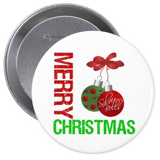 Merry Christmas Bulb Ribbon Ornanment Pin