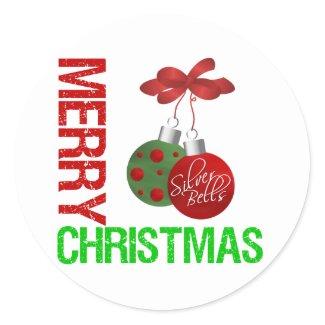 Merry Christmas Bulb Ribbon Ornanment sticker