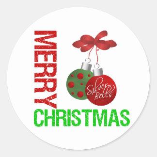 Merry Christmas Bulb Ribbon Ornanment Round Stickers