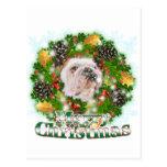 Merry Christmas Bulldog Postcard