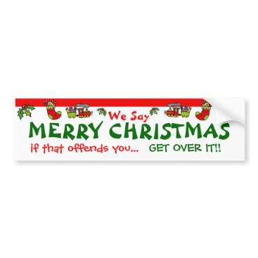 Christmas Themed MERRY CHRISTMAS BUMPER STICKER