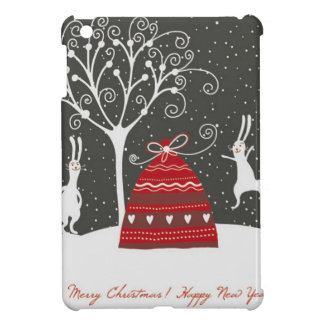 Merry Christmas Bunny black and white Christmas iPad Mini Cover