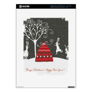 Merry Christmas Bunny black and white Skin For iPad 3