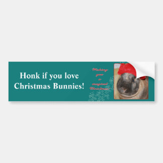 Merry Christmas Bunny Rabbit with Hat - Magical Car Bumper Sticker