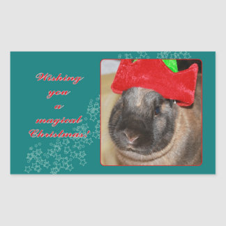 Merry Christmas Bunny Rabbit with Hat - Magical Rectangular Stickers