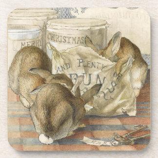Merry Christmas Bunny Rabbits Coaster