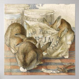Merry Christmas Bunny Rabbits Poster
