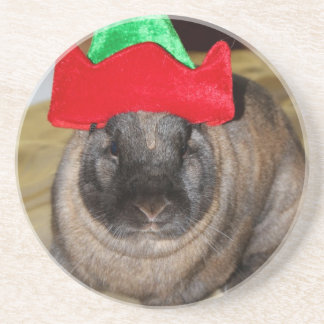 Merry Christmas Bunny With Holiday Rabbit Hat Coat Drink Coaster