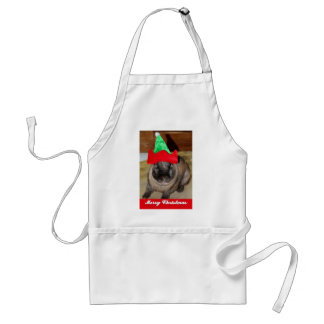 Merry Christmas Bunny With Holiday Rabbit Hat Gift Adult Apron