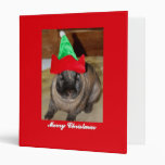 Merry Christmas Bunny With Holiday Rabbit Hat Gift Vinyl Binder