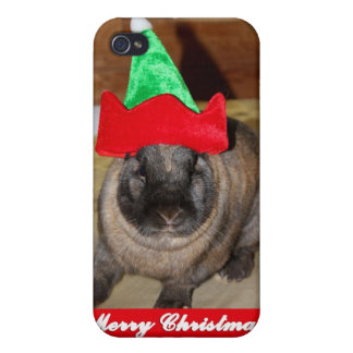 Merry Christmas Bunny With Holiday Rabbit Hat Gift iPhone 4 Covers