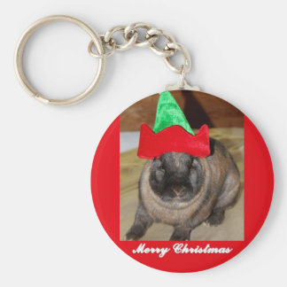Merry Christmas Bunny With Holiday Rabbit Hat Gift Keychain