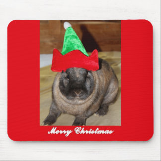 Merry Christmas Bunny With Holiday Rabbit Hat Gift Mouse Pad