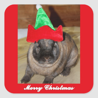 Merry Christmas Bunny With Holiday Rabbit Hat Gift Square Sticker