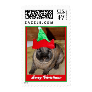 Merry Christmas Bunny With Holiday Rabbit Hat Holi Postage Stamp