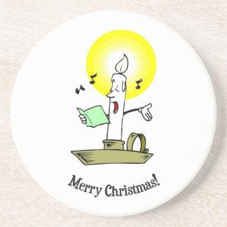 Merry Christmas, Burning candle singing a carol Coaster