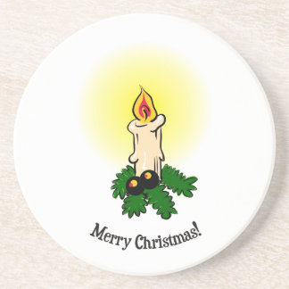 Merry Christmas, Burning (lit) candle and leaves Coaster
