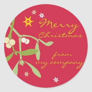 Merry Christmas business gift labels Classic Round Sticker