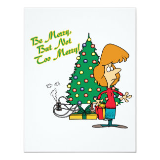 """merry christmas but not too merry funny cartoon 4.25"""" x 5.5"""" invitation card"""