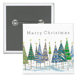 Merry Christmas Button Pin Holiday Trees Art