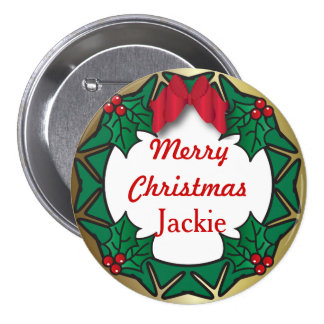 Merry Christmas Button- Wreath Pinback Button